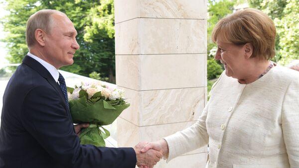 Президент РФ Владимир Путин и федеральный канцлер ФРГ Ангела Меркель. Архивное фото