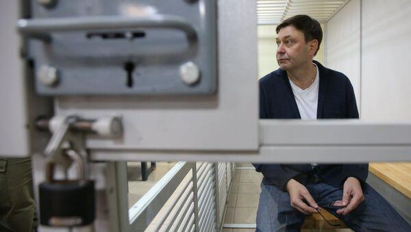 Руководитель портала РИА Новости Украина Кирилл Вышинский во время рассмотрения апелляции на арест в Херсонском зале суда. Архивное фото