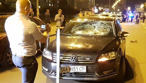 Место наезда автомобиля Volkswagen на 13-летнего ребенка на велосипеде в Киеве. 31 мая 2018