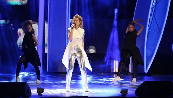 Анна Филипчук выступает на национальном отборе на международный конкурс Детское Евровидение-2018 в МДЦ Артек