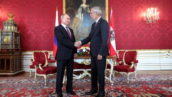 Президент РФ Владимир Путин и федеральный президент Австрийской Республики Александр Ван дер Беллен во время встречи во дворце Хофбург в Вене. 5 июня 2018