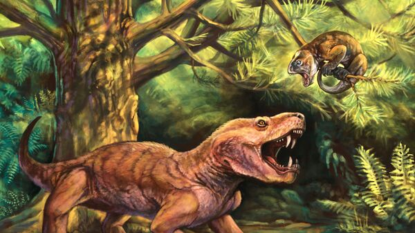 Так художник представил себе «горыныча» в древних лесах Пермского периода