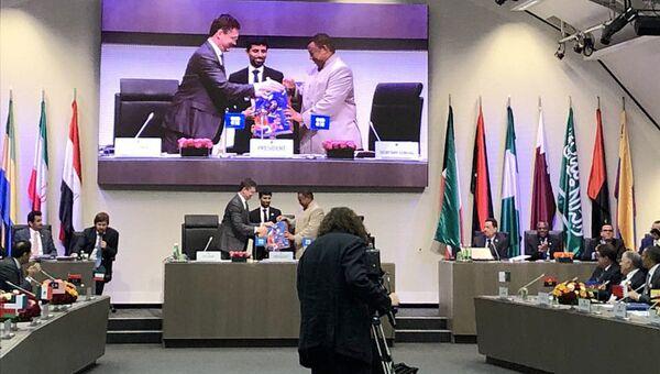 Министр энергетики России Александр Новак на четвертой министерской встрече стран ОПЕК и не входящих в ОПЕК. 23 июня 2018