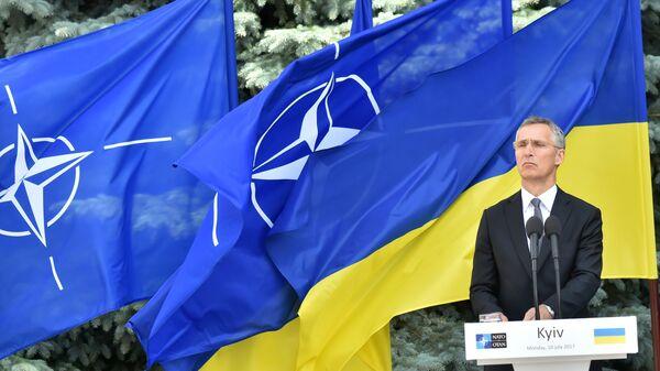 Генеральный секретарь НАТО Йенс Столтенберг выступает на пресс-конференции с президентом Украины в Киеве. Архивное фото