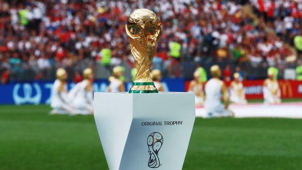 Кубок на церемонии закрытия чемпионата мира по футболу. Архивное фото