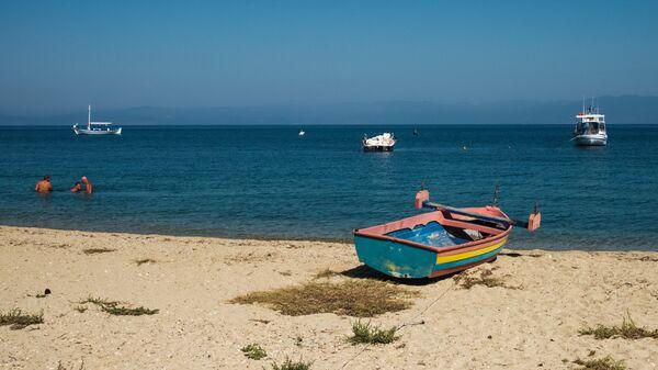 Пляж в городе Лименас на греческом острове Тасос