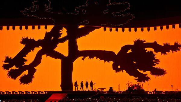 U2 выступает стадионе на Gillette в Фоксборо, США, в рамках тура Joshua Tree. 25 июня 2017