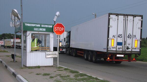 Таможенно-пропускной пункт Красное на границе России и Белоруссии