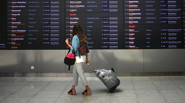 Пассажиру табло  в терминале B международного аэропорта Шереметьево