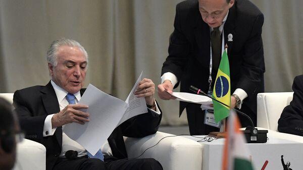 Президент Бразилии Мишел Темер на встрече лидеров БРИКС по вопросам развития БРИКС и приоритетов стратегического партнерства. 27 июля 2018