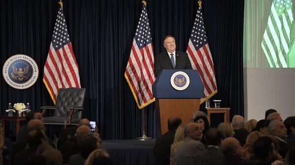 Госсекретарь США Майк Помпео во время выступления в Фонде Рональда Рейгана в Калифорнии