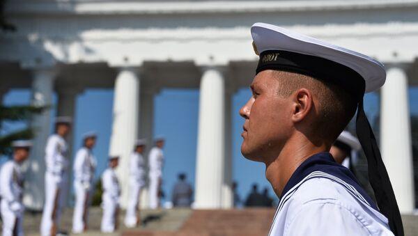 Военные моряки Черноморского флота на праздновании Дня Военно-Морского Флота в Севастополе. 29 июля 2018