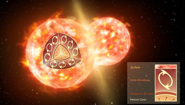 Так художник представил себе столкновение двух звезд, породившее большие количества радиоактивного алюминия-26