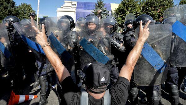 Протесты против действующего правительства в Бухаресте, Румыния. 10 августа 2018