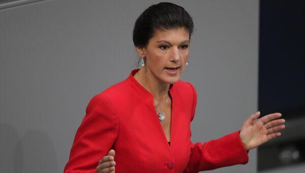 Немецкий политик Сара Вагенкнехт. Берлин, 2014