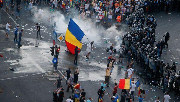 Антиправительственный протест в Бухаресте. 10 августа 2018