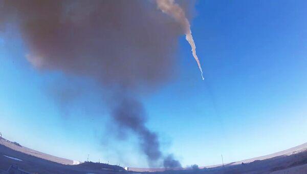 Испытательный пуск новой ракеты российской системы ПРО на полигоне Сары-Шаган в Казахстане. 30 августа 2018