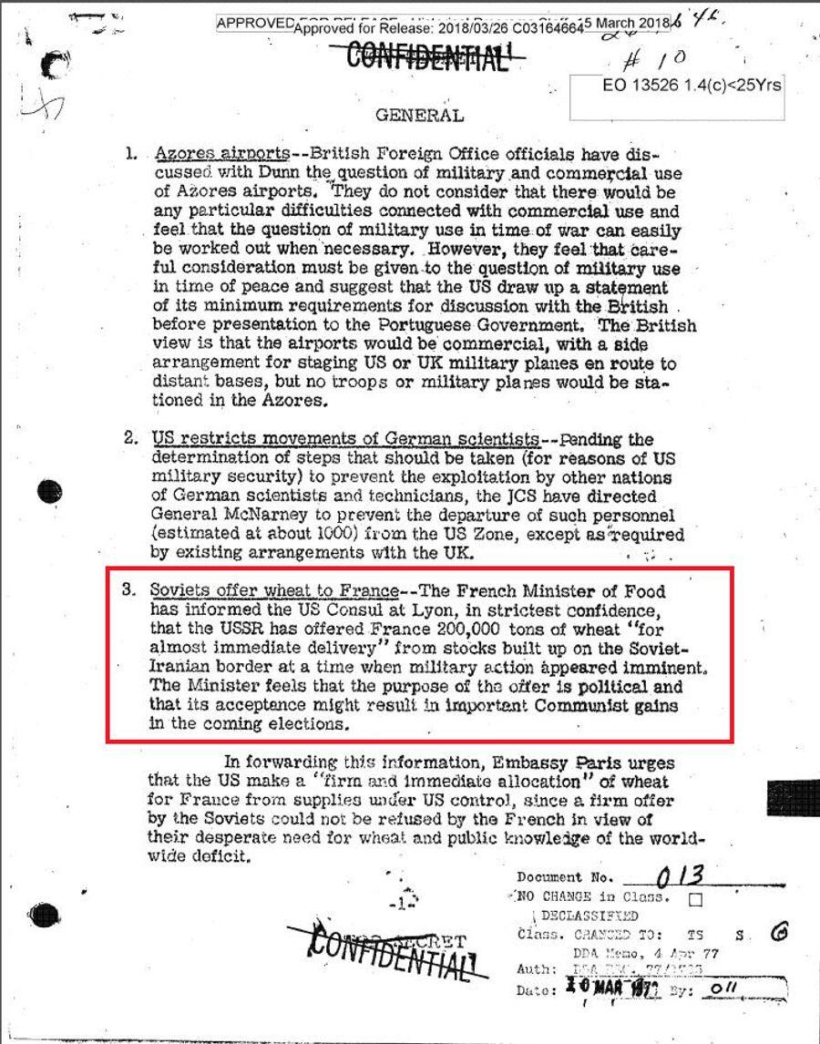 Сводка донесений разведки для президента США Гарри Трумэна от 25 февраля 1946 года, в которой говорится о том, что СССР предлагает продовольственную помощь Франции