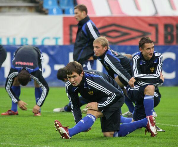 Открытая тренировка сборной России по футболу в преддверии отборочных матчей Чемпионата мира-2010