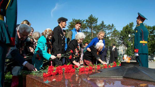 Торжества в честь окончания Второй мировой войны и освобождения Южного Сахалина и Курильских островов на площади Славы в областном центре Сахалинской области. 2 сентября 2018