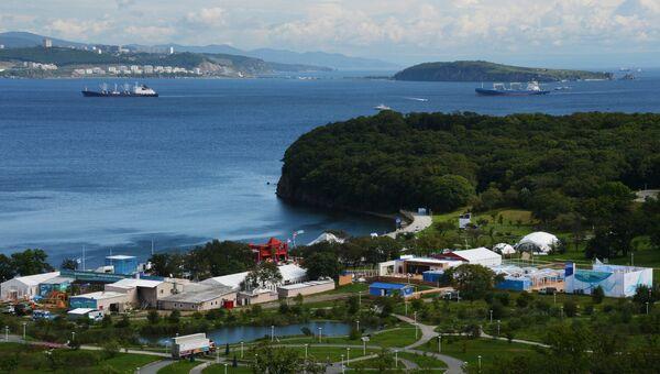 Вид на павильоны выставки Улица Дальнего Востока в рамках Восточного экономического форума во Владивостоке. Архивное фото