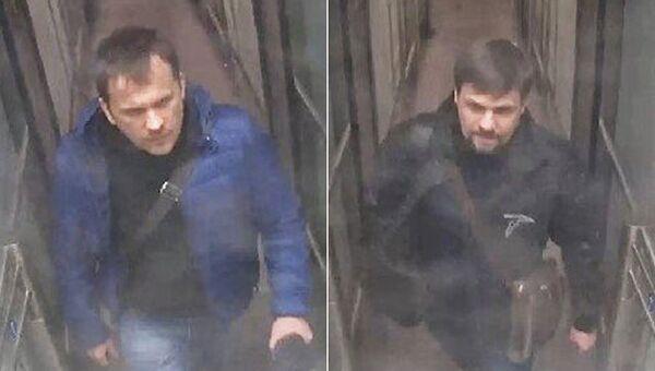 Александр Петров и Руслан Боширов на стоп-кадрах записи камеры видеонаблюдения