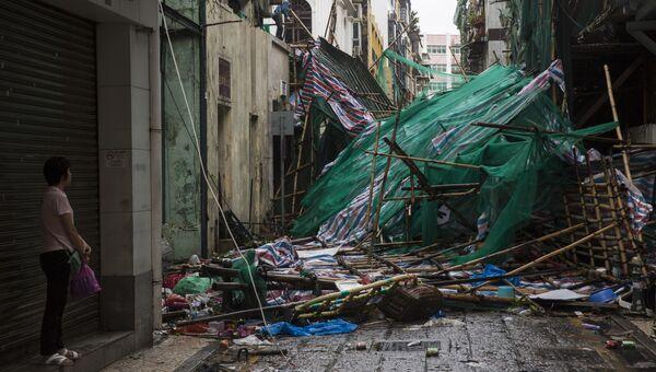 Последствия тайфуна Мангхут в Макао, Китай. 17 сентября 2018 года