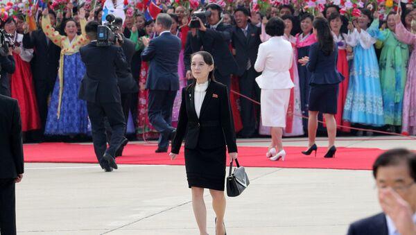 Сестра лидера Северной Кореи Ким Е Чжон на официальной церемонии приветствия в Международном аэропорту Пхеньяна, Северная Корея. 18 сентября 2018