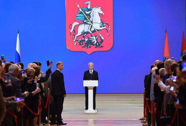 Избранный мэр Москвы Сергей Собянин на церемонии официального вступления в должность в Московском концертном зале Зарядье
