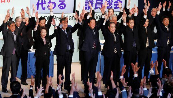 Синдзо Абэ на заседании Либерально-демократической партии Японии. 20 сентября 2018