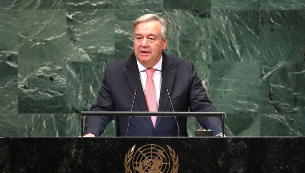 Генеральный секретарь ООН Антониу Гутерреш на открытии Генеральной ассамблеи в Нью-Йорке