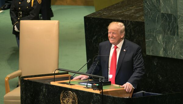 Дональд Трамп выступает на Генеральной Ассамблее Организации Объединенных Наций в Нью-Йорке. 25 сентября 2018