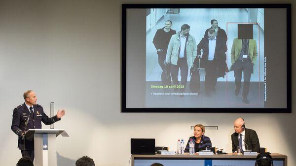 Пресс-конференция службы военной разведки и безопасности Нидерландов в Гааге. 4 октября 2018
