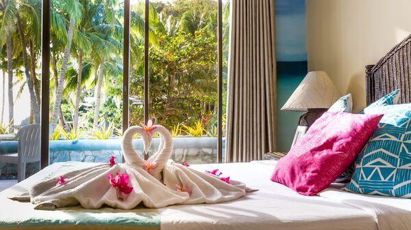 Полотенца в гостиничном номере