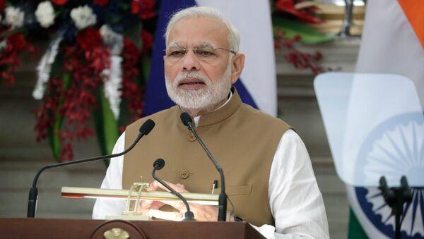 Премьер-министр Республики Индии Нарендра Моди во время заявления для СМИ по итогам российско-индийских переговоров в Нью-Дели. 5 октября 2018