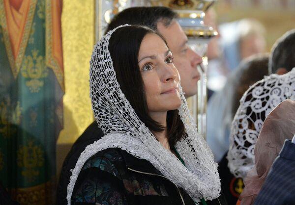 Верующие в Минском храме-памятнике во имя Всех святых и в память о жертвах, спасению Отечества нашего послуживших (Всехсвятской церкви)