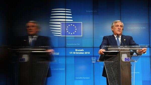 Председатель Европейского парламента Антонио Таяни  на саммите ЕС в Брюсселе. 17 октября 2018