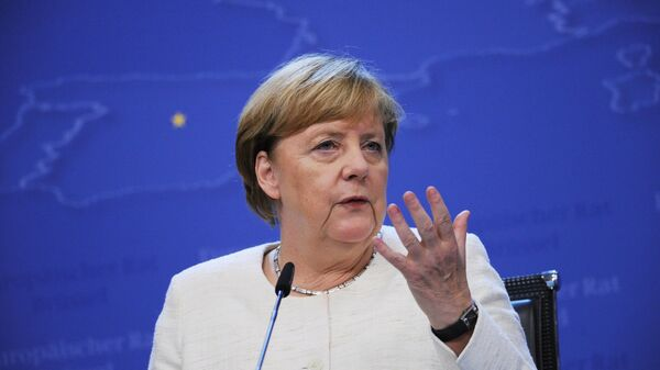 Канцлер Германии Ангела Меркель выступает на 12-м Азиатско-европейском саммите (ASEM) в Брюсселе. 18 октября 2018