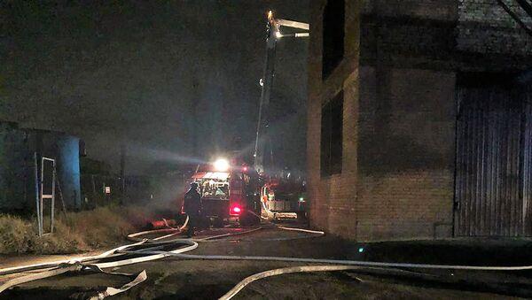 На месте пожара на территории завода Электроцинк во Владикавказе. 21 октября 2018
