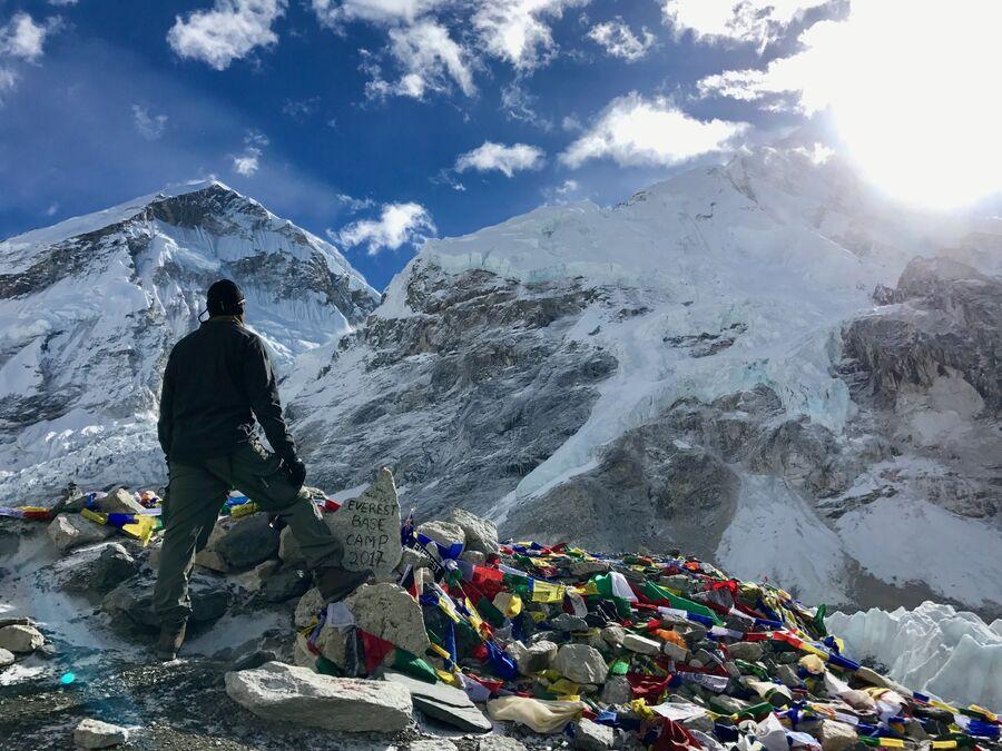 Восхождение к базовому лагерю Эвереста. Вид на Эверест. Ноябрь 2017