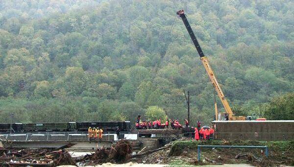 Аварийно-восстановительные работы по ликвидации последствий сильных дождей на территории Краснодарского края. Скриншот видео, предоставленного МЧС РФ