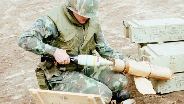 Снаряд с белым фосфором. Архивное фото