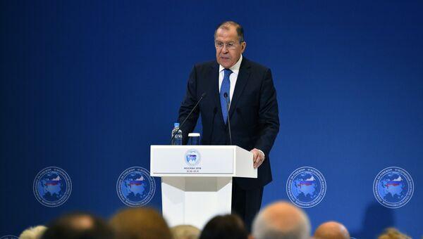 Министр иностранных дел РФ Сергей Лавров выступает на VI Всемирном конгрессе российских соотечественников, проживающих за рубежом