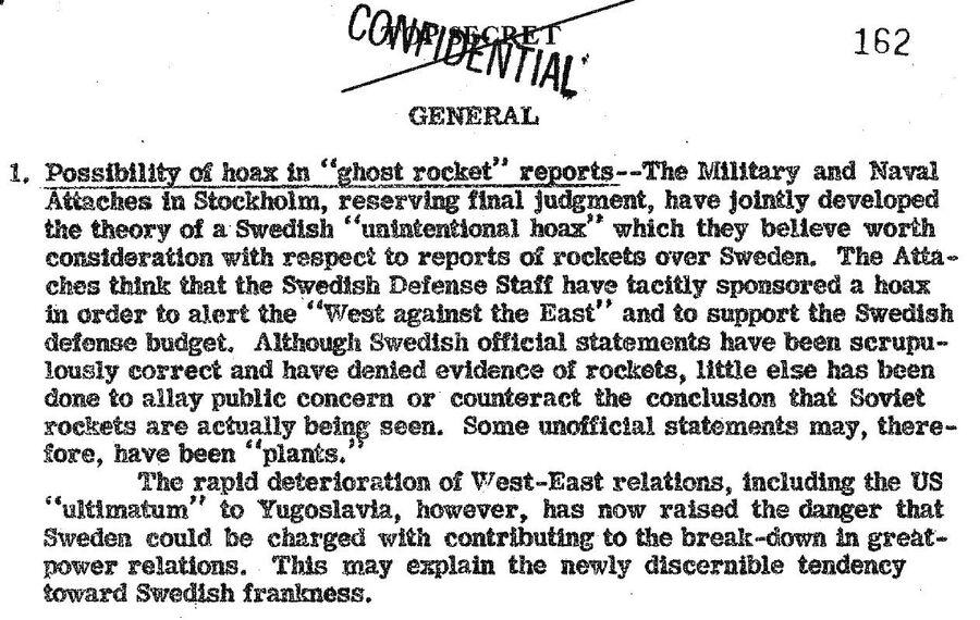 Сообщение в сводке от 16 августа 1946 года о ракетном обстреле СССР Норвегии, Финляндии и Швеции