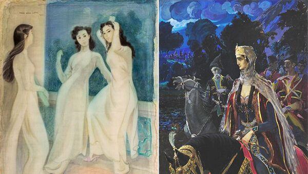 Слева: Чан Донг Лыонг Перед демонстрацией. Вьетнам 1957 год. Справа: В.В. Сидамон - Эристави. Царица Тамара. Грузия, Тифлис, 1917г.