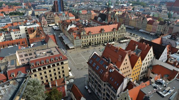 Вид на центральную часть Вроцлава с башни костела святой Эльжбеты