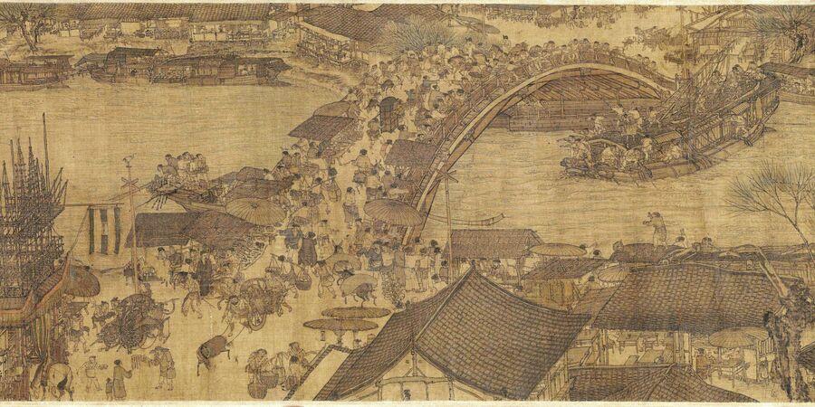 Фрагмент оригинального свитка Чжана Цзэдуаня «По реке в День поминовения усопших»