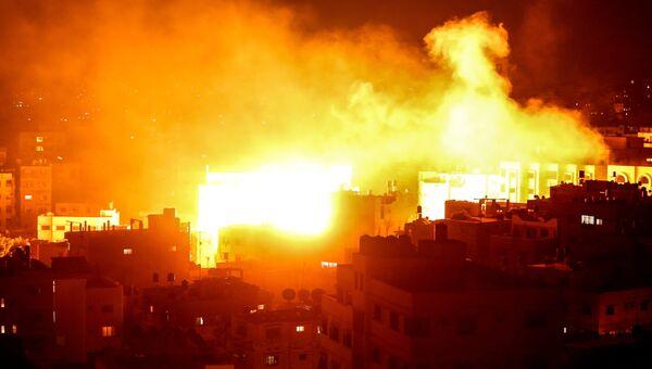 Удар по палестинской телекомпании Аль-Акса в секторе Газа. Архивное фото