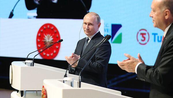 Президент России Владимир Путин и президент Турции Реджеп Тайип Эрдоган на церемонии завершения строительства морского участка газопровода Турецкий поток. 19 ноября 2018