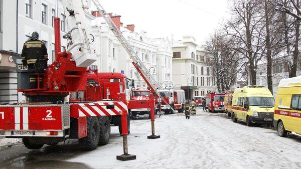Пожарные машины на улице Казани